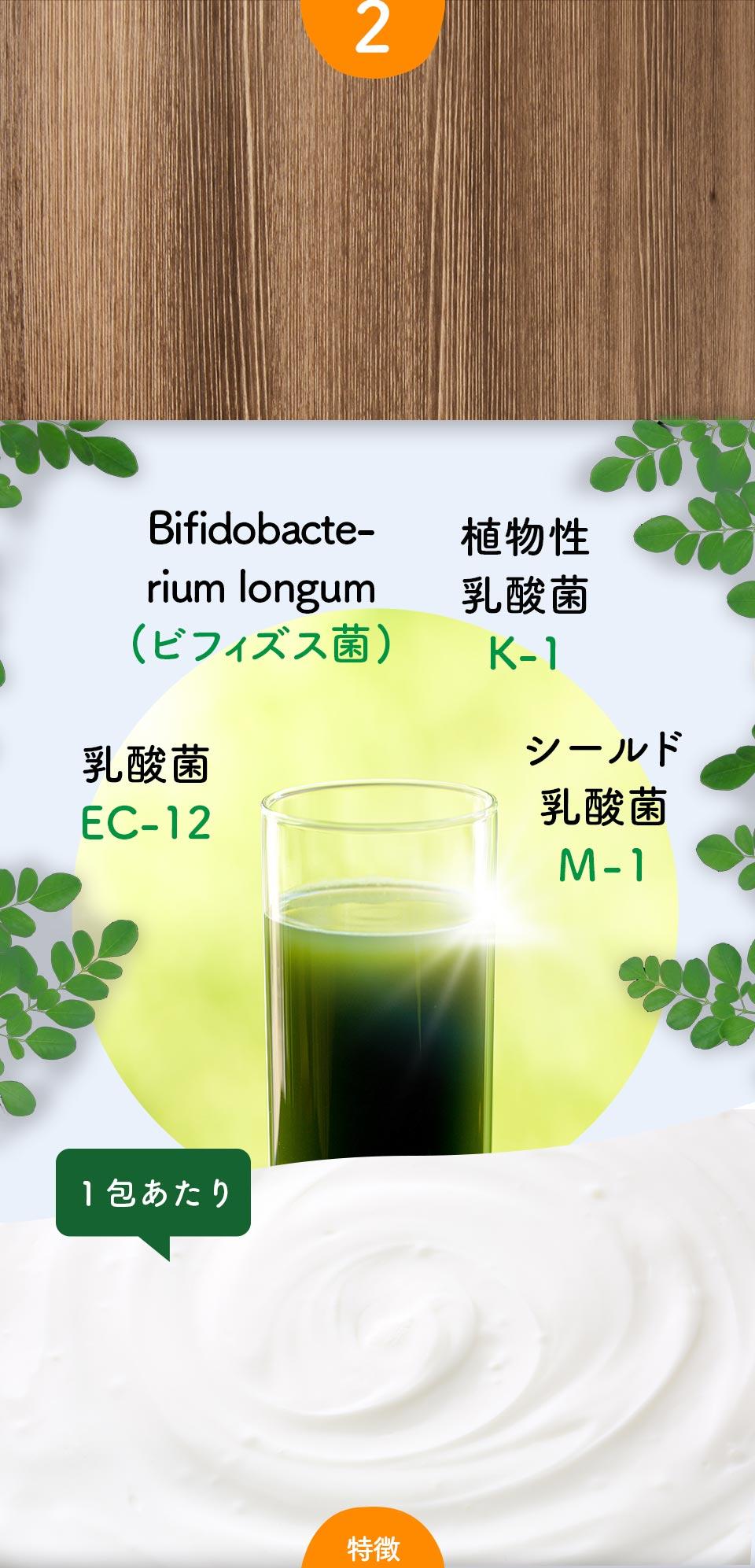 Bifidobacte- rium longum (ビフィズス菌)、植物性乳酸菌K-1、乳酸菌EC-12、シールド乳酸菌 M-1、1包あたり1000億個の3種の乳酸菌と10億個のビフィズス菌が環境をサポート